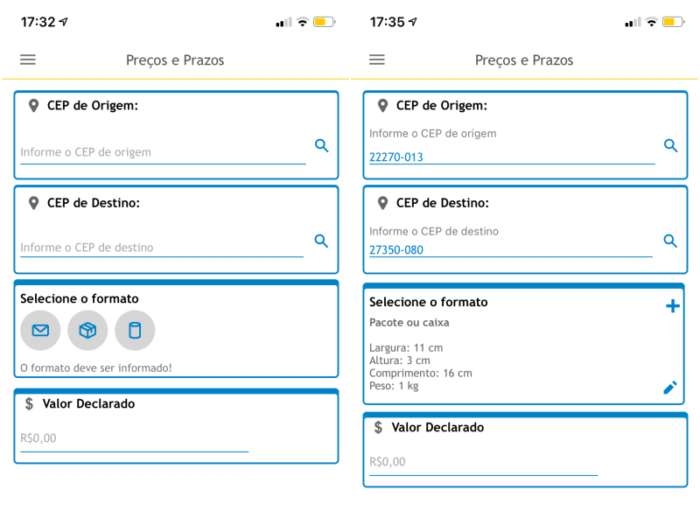 Simulação de frete no aplicativo dos Correios (Imagem: Reprodução/Correios)