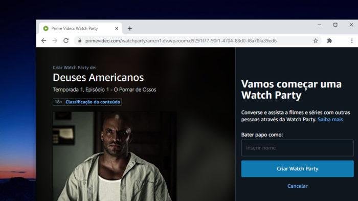 Watch Party no Amazon Prime Video (Imagem: Reprodução)