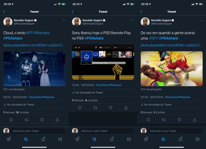 Exemplos de capturas de imagem e vídeos do PS4, compartilhados no Twitter (Imagem: Reprodução/Twitter)