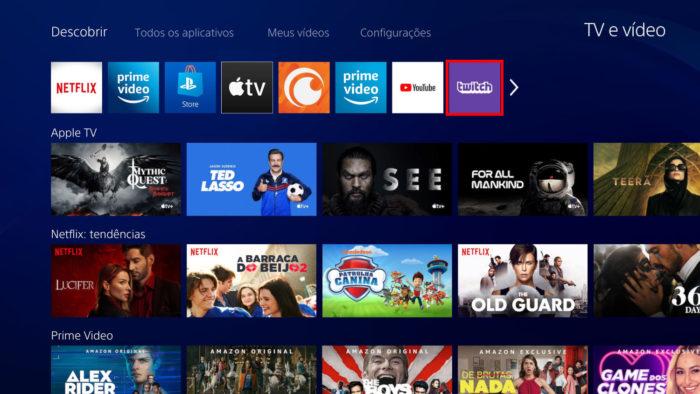 """Interface do app """"TV e vídeo"""" do PS4 (Imagem: Reprodução/Sony) / como assistir twitch na tv"""