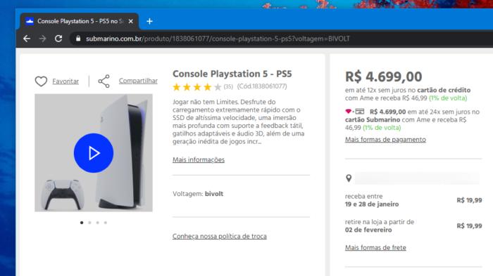 PS5 tem prazo para início de 2021 (Imagem: Reprodução/Submarino)
