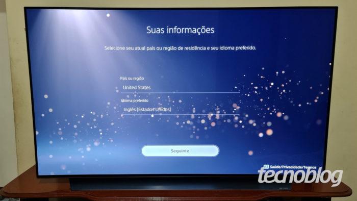Criação de conta da PSN no PS5 (Imagem: Ronaldo Gogoni/Tecnoblog) / comprar jogos ps5