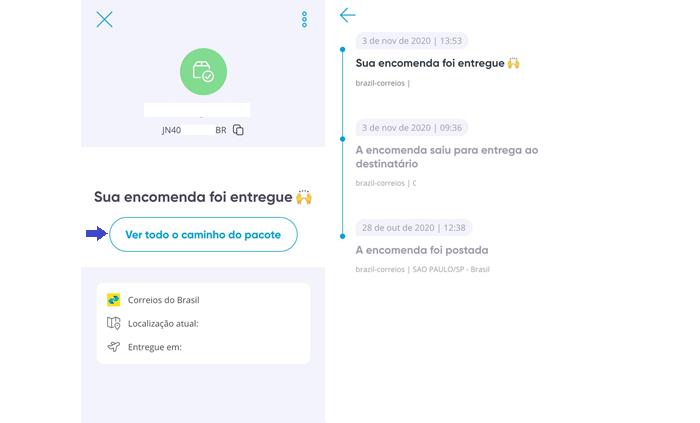 Rastreamento de encomendas no app Ebanx Track (Imagem: Reprodução/Gabrielle Lancellotti)