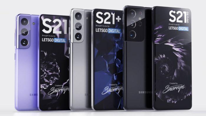 Possíveis Galaxy S21, S21+ e S21 Ultra (Imagem: Reprodução/LetsGoDigital)