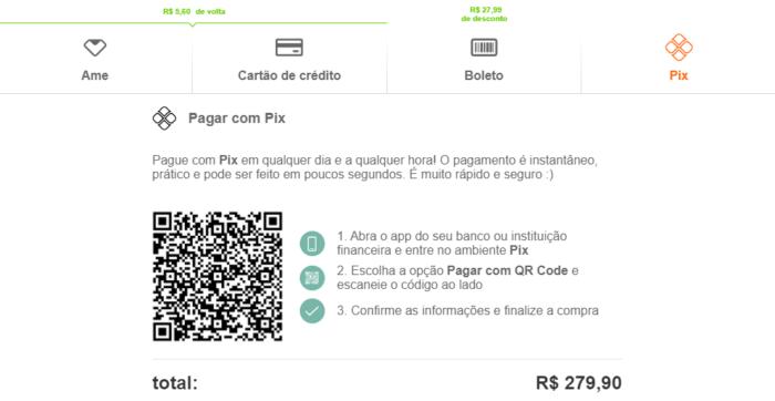 Shoptime não dá desconto em pagamento via Pix (Imagem: Reprodução)