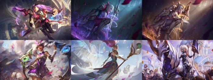 Skins Rainha da Batalha, na ordem do texto (Imagem: Divulgação/League of Legends)