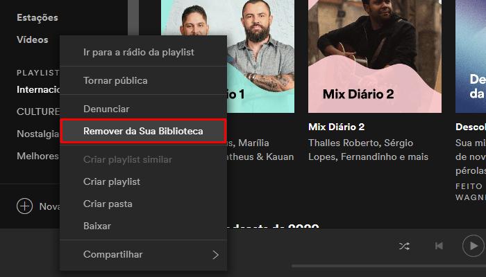 Processo para apagar uma playlist do Spotify no aplicativo para Windows (Imagem: Reprodução/Spotify)