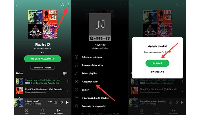 Processo para apagar uma playlist do Spotify no celular (Imagem: Reprodução/Spotify)