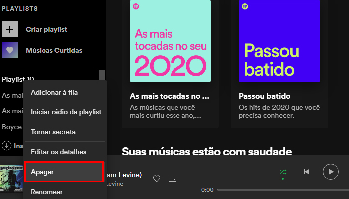 Processo para apagar uma playlist do Spotify no PC pelo navegador (Imagem: Reprodução/Spotify)