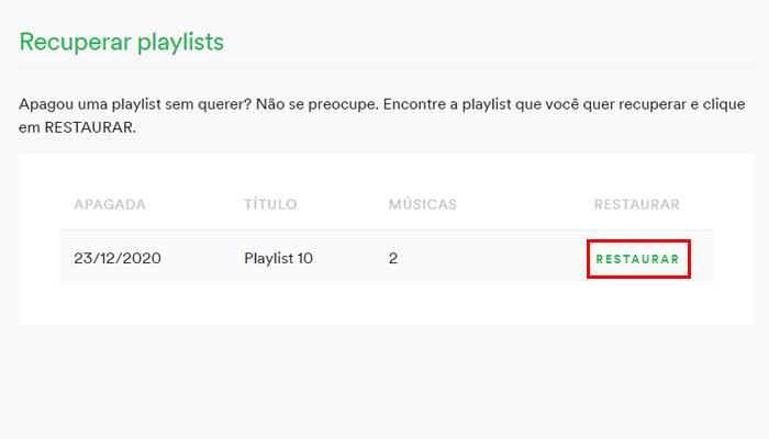 Processo para recuperar uma playlist do Spotify no PC (Imagem: Reprodução/Spotify)