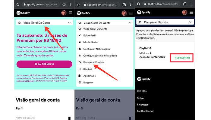 Processo para recuperar uma playlist do Spotify no celular (Imagem: Reprodução/Spotify)