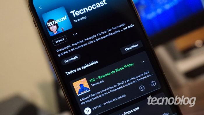 Spotify tocando podcasts (Imagem: André Fogaça/Tecnoblog)