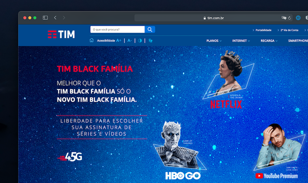 TIM Black Family allows you to choose between Netflix, HBO Go and YouTube Premium (Image: Reproduction / TIM Site)