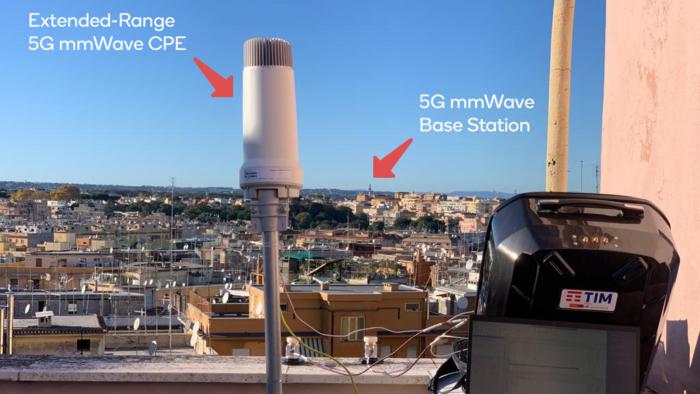 Distância entre torre de celular e dispositivo de testes com 5G mmWave