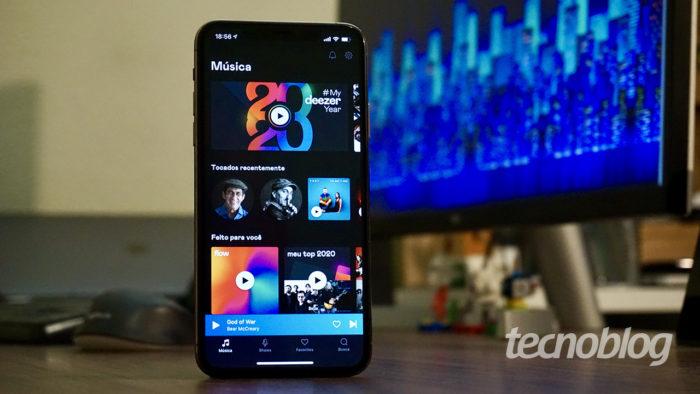 Deezer no iPhone (Imagem: André Fogaça/Tecnoblog)