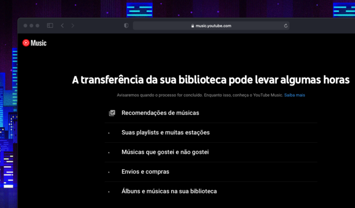 Ferramenta de transferência de músicas para o YouTube Music (Imagem: reprodução/YouTube Music)