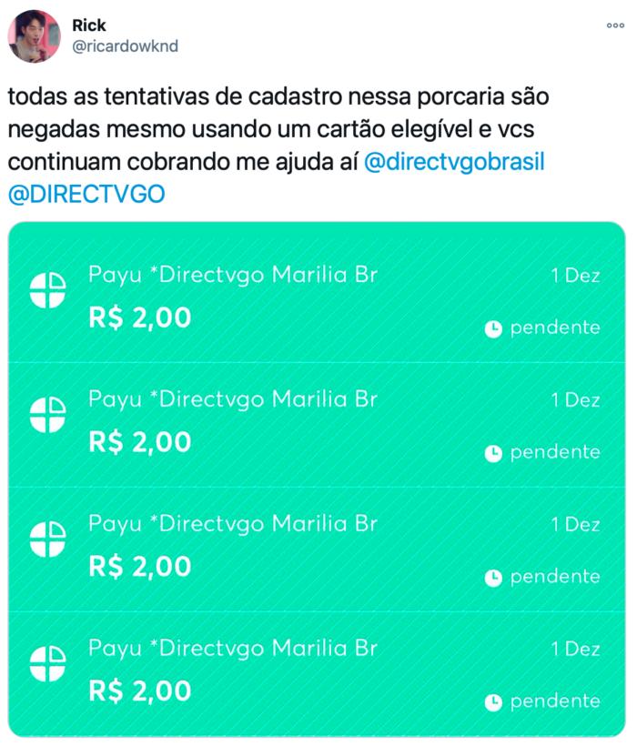 Ricardo teve tentativas de assinatura negadas (Imagem: Reprodução/Twitter)
