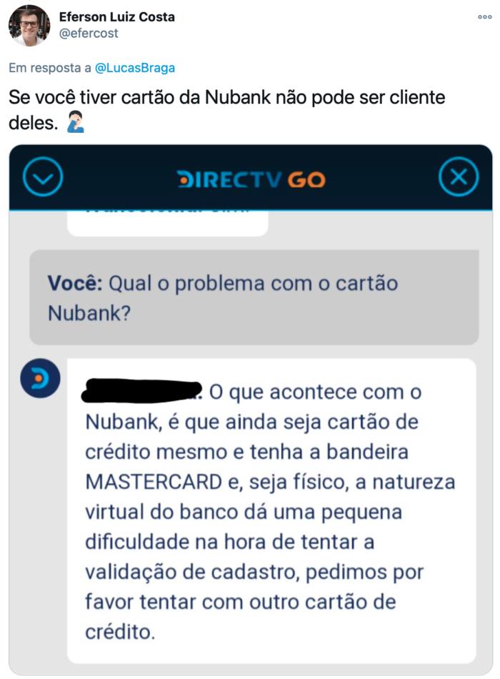 """Eferson foi informado que """"natureza digital"""" do Nubank impede validar o cadastro (Imagem: Reprodução/Twitter)"""