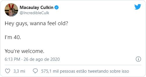 """Quarto tweet mais curtido é do ator Macaulay Culkin: """"Querem se sentir velhos? Tenho 40 anos"""" (Imagem: Reprodução/Twitter)"""