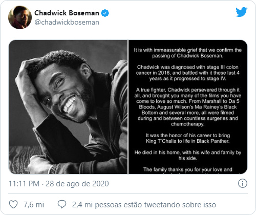 Tweet sobre morte de Chadwick Boseman foi o mais curtido e retweetado de 2020 (Imagem: Reprodução/Twitter)
