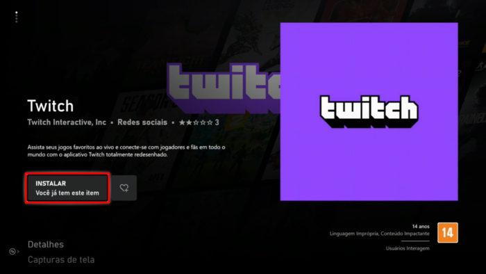 App da Twitch na Microsoft Store do Xbox (Imagem: Reprodução/Microsoft) / como assistir twitch na tv