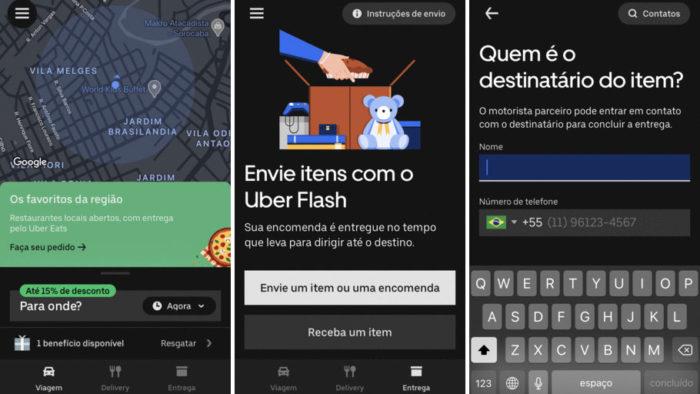Uber Flash compartilha informações da viagem com o destinatário (Imagem: Divulgação/Uber)