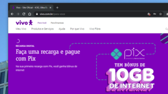 Vivo aceita Pix para pagamento de recarga e dá bônus de 10 GB