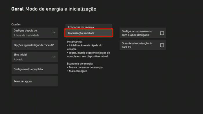 Configurações de energia do Xbox One (Imagem: Reprodução/Microsoft)