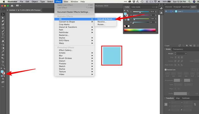 Usando a ferramenta Extrusão no Illustrator