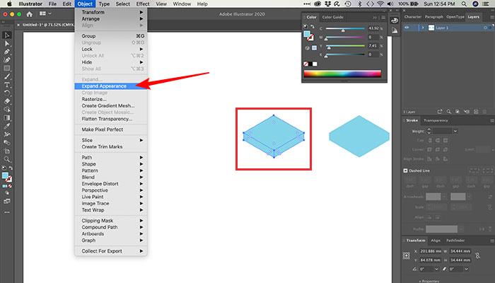 Expandindo a aparência de uma forma no Illustrator