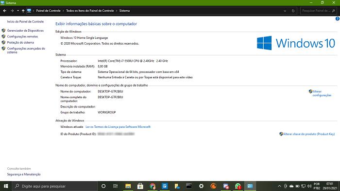 Informações sistema Windows (Imagem: Leandro Kovacs/Reprodução)