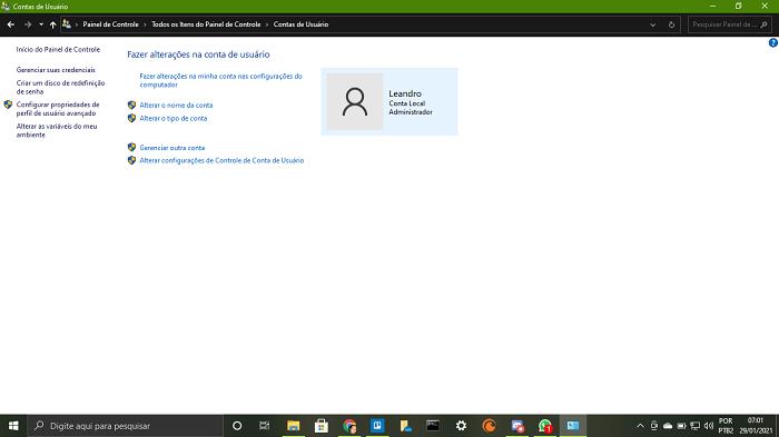 Informação e gestão de usuários Windows (Imagem: Leandro Kovacs/Reprodução)