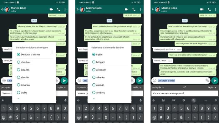 Configurando o idioma da mensagem no WhatsApp com Gboard (Imagem: Leandro Kovacs/Reprodução)