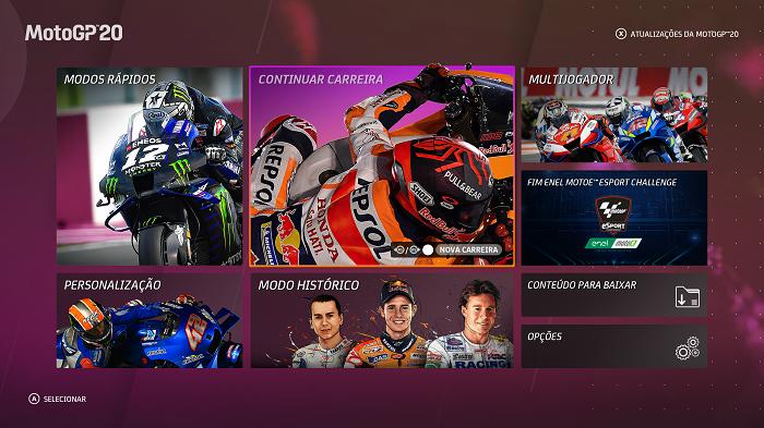 MotoGP 20 traz modos de jogos locais e online (Imagem: Leandro Kovacs/Reprodução)