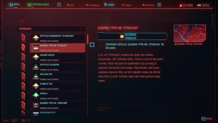 Cyberpunk 2077 - comprar carros