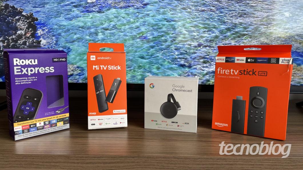 Chromecast, Mi TV Stick, Fire TV Stick Lite ou Roku Express (Imagem: Darlan Helder/Tecnoblog)