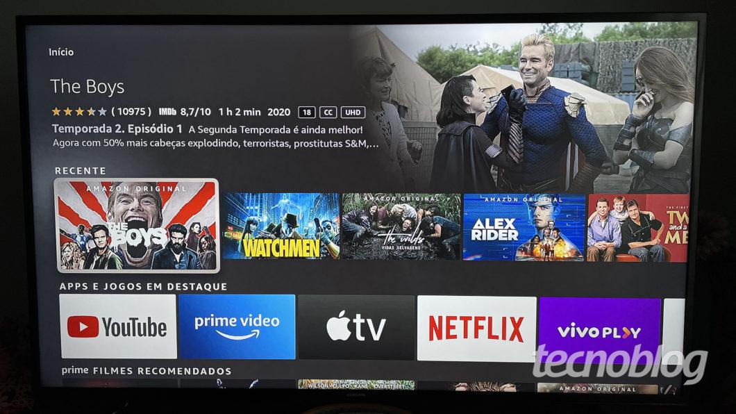 Interface do Amazon Fire TV Stick Lite (Imagem: Darlan Helder/Tecnoblog)