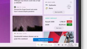 Windows 10 testa mostrar caixa de notícias na barra de tarefas