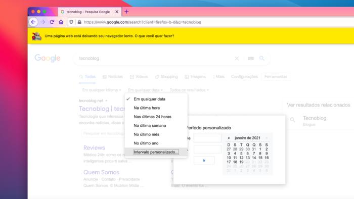 Bug na busca trava aba do navegador (Imagem: Reprodução/Google)