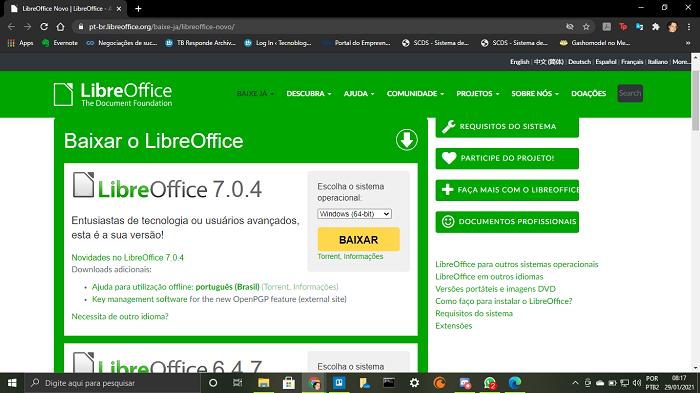 Página oficial LibreOffice para download (Imagem: Leandro Kovacs/Reprodução)