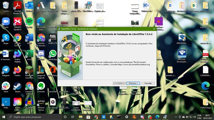 Iniciando a instalação do LibreOffice (Imagem: Leandro Kovacs/Reprodução)