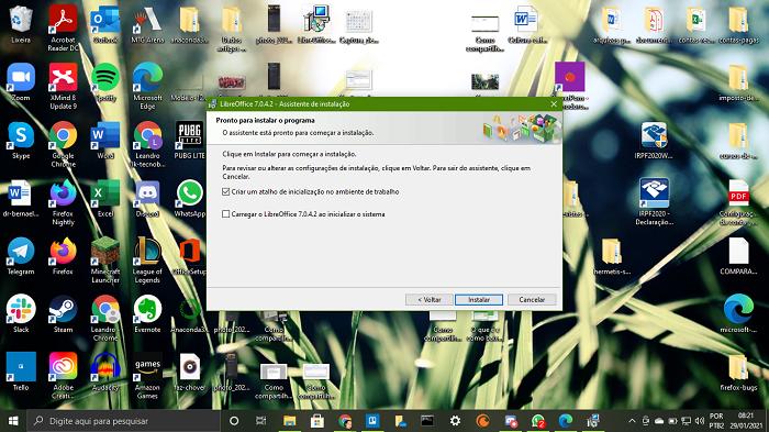 Criar o atalho é o último passo antes da instalação do LibreOffice (Imagem: Leandro Kovacs/Reprodução)