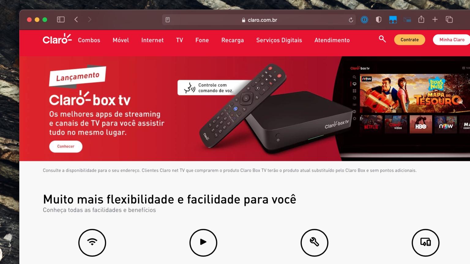Claro Box TV tem controle remoto com comando de voz (Imagem: Reprodução/Site Claro)