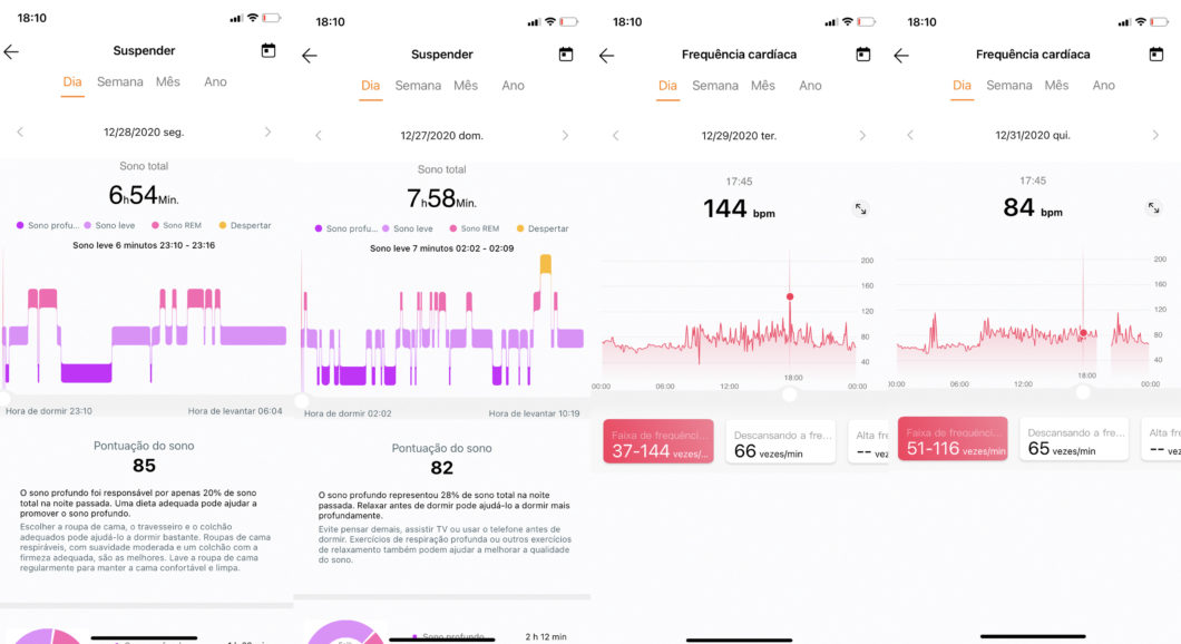 Sleep (left) and heart rate (right) monitoring on the Huawei Health app (Image: Reproduction / Huawei Health)