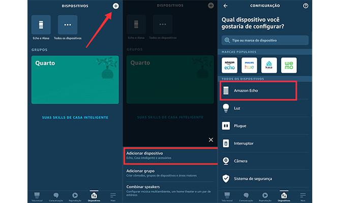 Processo para adicionar um dispositivo Echo (Imagem: Reprodução/Amazon Alexa)