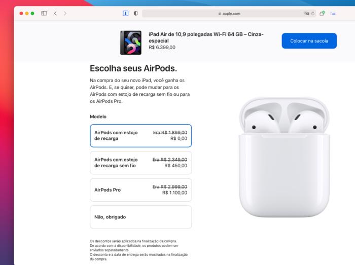 Apple dá AirPods para universitários na compra de Mac ou iPad (Imagem: Reprodução/Tecnoblog)