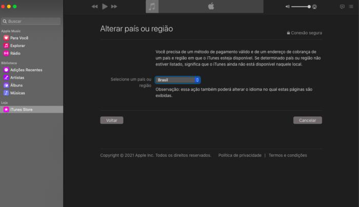 Alterar região do ID Apple no Mac (Imagem: Reprodução/Apple)