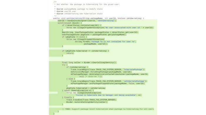 Android 12: surgem mais detalhes sobre hibernação de apps (Imagem: Reprodução/Mishaal Rahman/XDA-Developers)