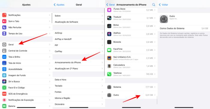 Armazenamento Outros do iPhone (Imagem: Reprodução/Apple)