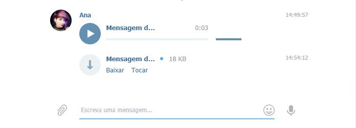 baixando mensagem de voz no Telegram
